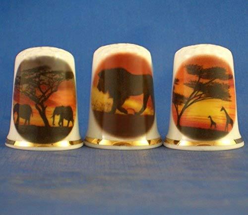 Porcelana China colecci/ón de dedales Juego de tres Safari Sunset