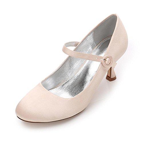 L@YC Boda de Las Mujeres F17061-27 Almond Toe High Heels Satin Party Court/Zapatos de Boda Personalizados Champagne