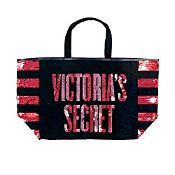 Black Pink Sequin Stripe Bling City Tote