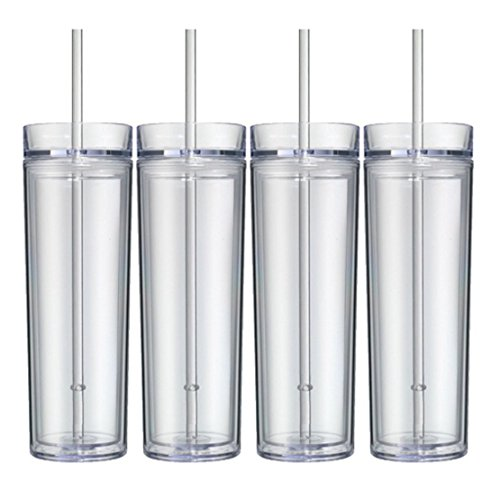 Set of 4 Clear Tall Skinny Tumblers, Acrylic 16 Ounce Tumblers with Straw, Blank Cup for Monogram, Vinyl, Personalization