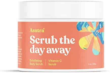 Asutra, Organic Exfoliating Body Scrub, Vitamin C, 100% Himalayan Sea Salt Scrub, Ultra Hydrating and Moisturizing Scrub, Skin Smoothing Jojoba, Sweet Almond, and Argan Oils, 12 oz. Jar