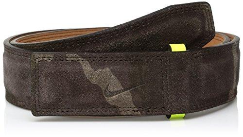 Nike Men's Sleek Modern Covered Plaque Belt W/Camo Suede, black/volt, 32