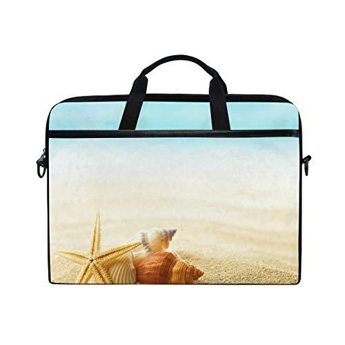 Summer Beach Shells in The Sand 14-15 inch Laptop Case Computer Shoulder Bag Notebook Tablet Crossbody Briefcase Messenger Sleeve Handbag with Shoulder Strap Handle for Women Men Girls Boys