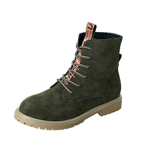 Women Stylish Army Boots Combat Leather SUKEQ up Outdoor Green Martin Top Boots Ankle PU Flat Plush Lace High Boots qwTgB