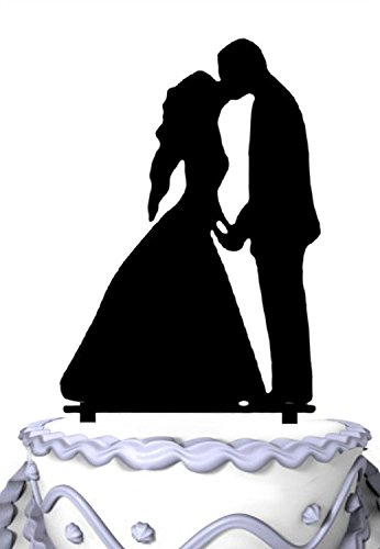 Meijiafei Bride and Groom Silhouette Holding Hands Sweet Kiss Wedding Cake Topper