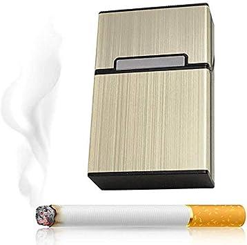 Caja de Cigarrillos de Aluminio para Fumadores, Caja de Cigarrillo para Fumar, Caja de Cigarrillo, Caja de Bolsillo para contenedor de Tabaco, Amarillo: Amazon.es: Equipaje