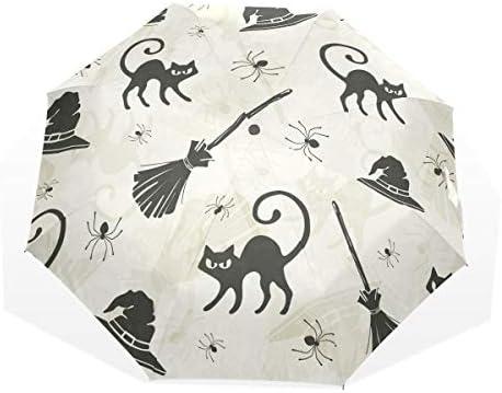 GUKENQ - Paraguas de Viaje para Gatos de Halloween, escobas y Sombreros de Bruja, Ligero, Anti Rayos UV, Paraguas para Hombres, Mujeres y niños, ...