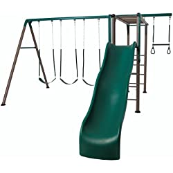Lifetime 90143 Monkey Bar Adventure Swing Set 9 Feet Wavy Slide, Earthtone