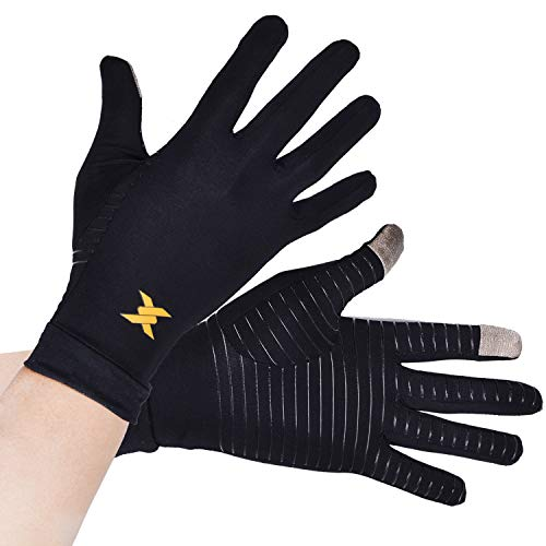 (Thx4 Copper Infused Compression Gloves, Touch Screen Full Finger Arthritis Glove for Writing, Texting, Carpal Tunnel- Non-Slip Silicone Gel for Women/Men)