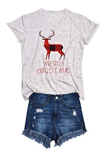 AOVXO Women's Casual V Neck Short Sleeve Slub Cotton T Shirts for Women Summer Shirts Blouses Loose T-Shirt Tops