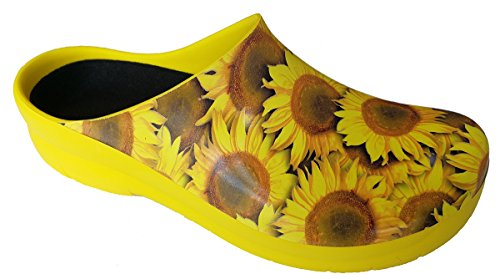 Yellow Polyurethane Plastiques Picture Clogs Sunflowers Sabots Alpro Large Xa7wpx