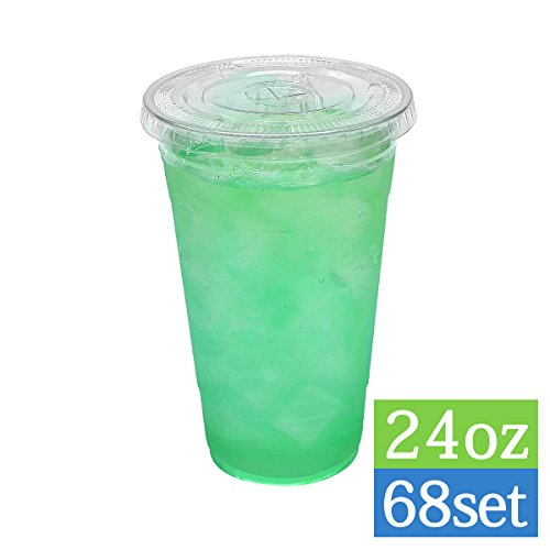 TashiBox Disposable Crystal Clear Cold Drink 24oz-68 Sets Plastic Cups with lids, Ice Coffee, BPA Free