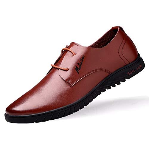 LXLA- Mens Business Casual Lace Up Leather Shoes Comodo Vestito Mocassini Testa Rotonda Per Gli Uomini (Colore : Brown, dimensioni : 8.5 US/7.5 UK) Brown