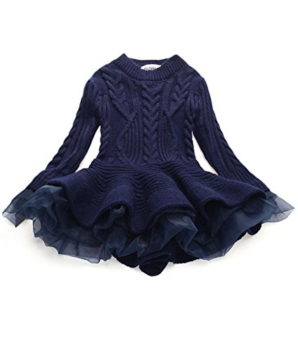 WEONEDREAM Little Girls' Spring Sweater Jumper Girl Dress Clothes Long Sleeves Kids Teens Tutu Dresses (Navy Blue, 110)]()