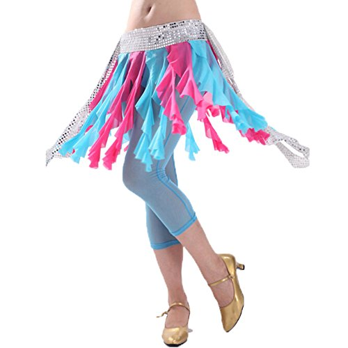 Costume Hip Glands Bleu Scarf Fuchsia et Belly Belle Dance wgqcU1UAX