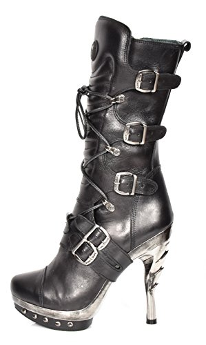 Pelle Gotico Lunghezza Da Vitello Donna Design In Stringata Alti Stivali Tacchi Del Nero Rock New Iqw84x7q