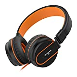 Headphones Kids,Besom i36 teens Nylon braided cord Stereo Lightweight Foldable Headphones Adjustable Headband Headsets with Microphone 3.5mm for iPhone/Andrews Couples headphones (Black Orange)