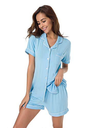 Blue Cotton Pajama - SIORO Pajamas for Women Short Sleeve Sleepwear Ladies Loungewear Soft Cotton Pajama Set Shorts, Light Blue with White Piping, S