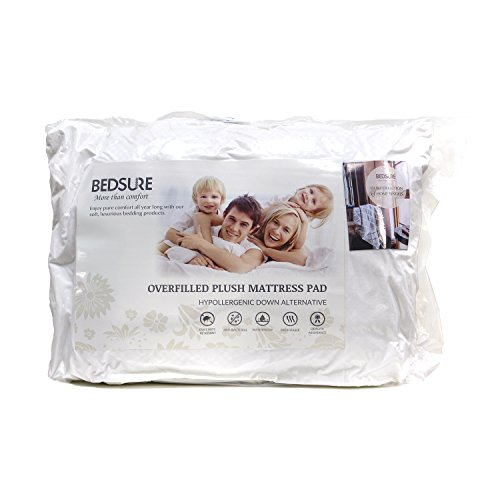 Bedsure Quilted Hypoallergenic Antibacterial Breathable Overfilled Ultra Soft Microplush Full Mattress Pad - - Allergy Pad Mattress Free