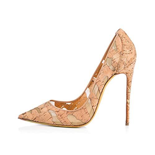 YY Pumpen Spitze Stilettos Und Elegant Schuhe Wasserdichte 12Cm Kleid Holzmaserung Plattform Komfortabel LYY Absatzhöhe Frauen F1qnwRWRg