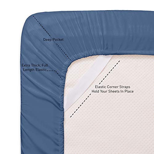 Sweet Home Collection Twin XL Size Sheets-4 Piece 1500 Thread Count Fine Brushed Microfiber Deep Pocket Set-2 EXTRA PILLOW CASES, VALUE, Denim