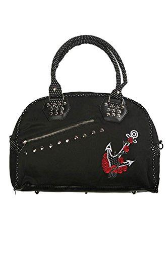 Banned-Black-Dot-Anchor-Roses-Handbag