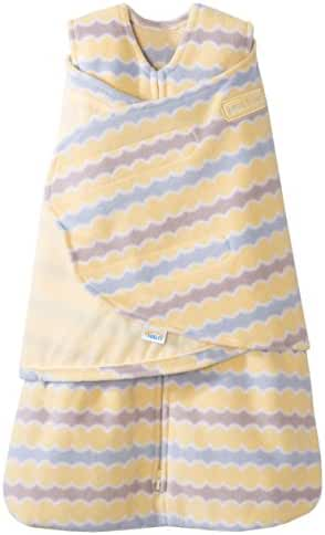 HALO SleepSack Micro-Fleece Swaddle, Yellow Waves, Newborn