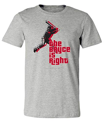 - 36 and Oh! Philadelphia Baseball The Bryce is Right Short Sleeve T Shirt - Heather Gray (X-Large)