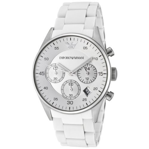 Emporio Armani Women's Quartz Silicone Wrapped Stainless Steel Casual Watch, Color:White (Model: AR5867)