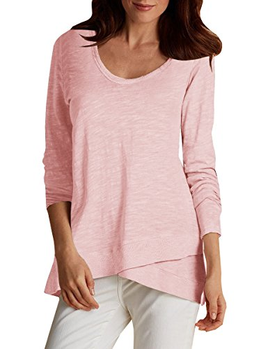 Sleeve Faux Wrap Tunic T-Shirt Soft Cotton Loose Fit Blouse Tops (XL, Pink) (Long Sleeve T-shirt Wrap)