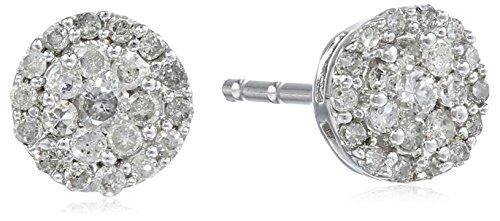 10k White Gold Round-Diamond Cluster Stud Earrings (1/4 (Diamond Cluster)