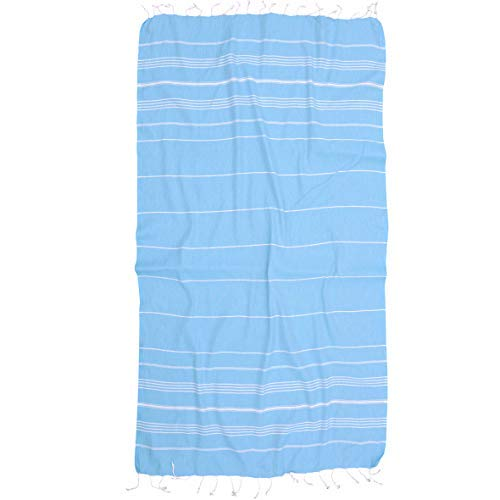 (Essential Turkish Towel Peshtemal in 100% Cotton for Beach Bath Swimming Pool Yoga Pilates Picnic Blanket Scarf Wrap Hammam Fouta Turkish Bath Towels Beach Towel (Turquoise))