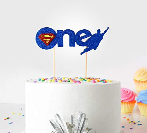 - 1st First Birthday Cake Topper Decoration Super Heros (1st First Birthday Cake Topper Decoration ( Superman ) - One - with Double Sided Glitter Stock)