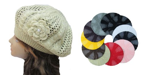 OPT. Wholesale 12 Pieces Crochet Knit French Beret Tam Hats.