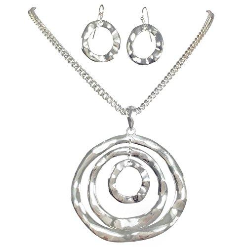 3 Ring Pendant Statement Necklace & Earring Set - Assorted Colors (Silver Tone) (Set Pendant Tone)