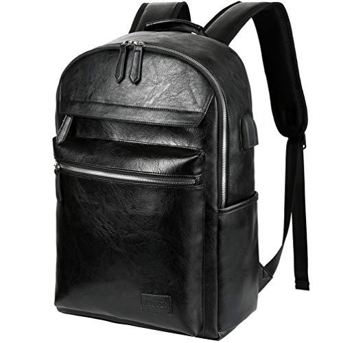 VBG VBIGER PU Leather Laptop Backpack College School Backpack Business Backpacks Waterproof Travel Backpack for Men