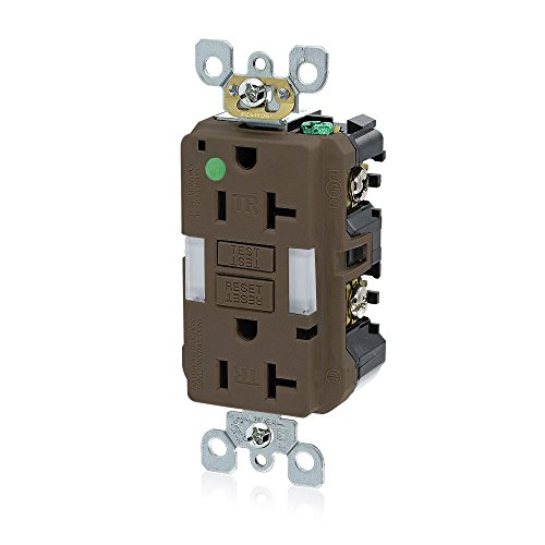 Leviton GFNL2-HG 20A-125V Hospital Grade Tamper-Resistant Guide Light Duplex Self-Test GFCI Receptacle, Brown, (Brown Hospital Grade Receptacle)