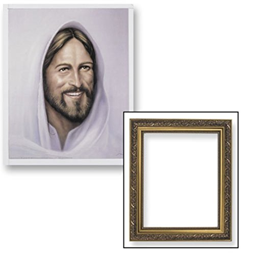 Gerffert Collection Smiling Jesus Christ Framed Portrait Print, 13 Inch (Ornate Gold Finish Frame)