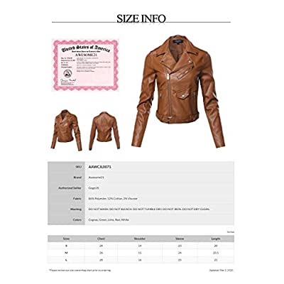 Women's Quilted Sleeve Classic Rider Style Faux Leather Jackets at Women's Coats Shop