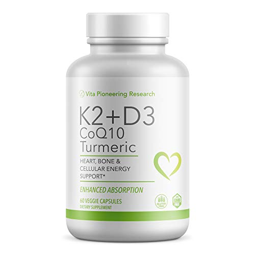 Vitamin D3 and K2 with Turmeric and COQ10 - Heart, Bone and Cellular Health Support with 10mg Avocado Powder for Better Absorption and Bio-Availability - Non-GMO and Gluten-Free - Two Month Supply