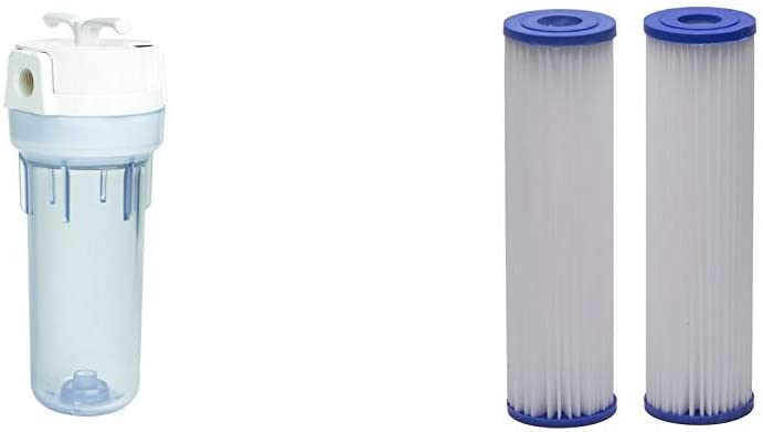 EcoPure EPW2VC Whole Water Filtration System Housing & Pleated Universal Whole Home Filter (2 Pack)