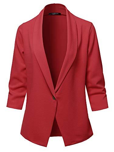 - SSOULM Women's 3/4 Sleeve Lightweight Work Office One Button Blazer Jacket Cranberry L