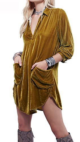 (R.Vivimos Womens Velvet Long Sleeve Pocket Casual Mini Shirt Dress (XL, Gold))