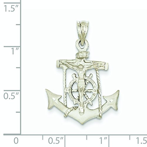 Les marins Blanc Or 14 Carats Pendentif croix-Dimensions :  21,3 x 29,5 mm-JewelryWeb