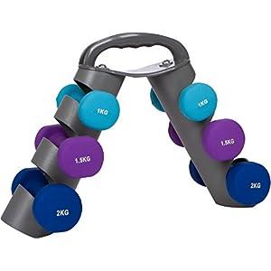Trademark Innovations 20 Lb. Neoprene Dumbell Set with Rack