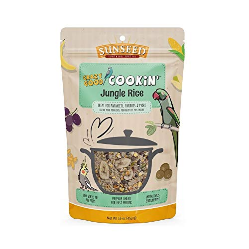 (Sunseed Crazy Good Cookin Bird Treat, 16 Ounces, Jungle Rice with Bananas Dates and Pistachios)