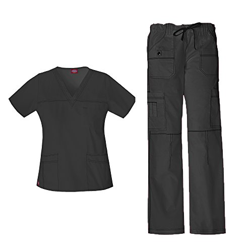 Dickies Gen Flex Women's Junior Fit 'Youtility' Top 817455 GenFlex Women's Low Rise Drawstring Cargo Pant 857455 Scrub Set (Dark Pewter - XX-Large/XL Petite)