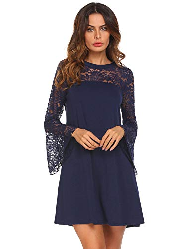Zeagoo Women Lace Patchwork Shift Dress Casual Flare Sleeve A-Line Cocktail Party Tunic Dress