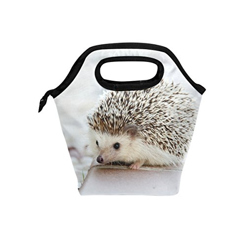Lunch Bag Hedgehog Printed Neoprene Tote Reusable Insulated Waterproof School Picnic Carrying Gourmet Lunchbox Container Organizer For Men, Women, Adults, Kids, Girls, Boys
