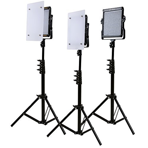 LED Video Light Kit GVM Dimmable Bi-color  Variable 2300K~6800K With Digital Display For Studio. CRI97+ TLCI97 + & Brightness of 10~100% Metal Housing for Video Photography Lighting 29W 3 Kit by GVM